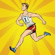 Runner male runner summer games athletics - stock illustration