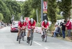 Plumelec, France - 13 July, 2015: Team Cofidis - Tour de France 2015 - stock photo
