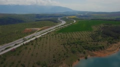 Aerial video over highway in Bulgaria Stock Footage