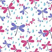 Seamless pattern with dragonflies and rain drops Stock Illustration