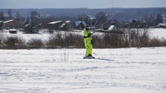 Winter snowkiting on the field Stock Footage
