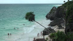 The stunning beach at Tulum, near Cancun, Mayan Riviera, Mexico Stock Footage