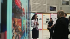 People visit the Qianhai Free Trade Zone Development Achievements Exhibition Stock Footage