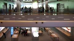 Apple store on Shanghai Huaihai road - stock footage