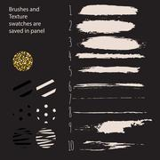 Hand drawn paint brushes and pattern swatches - stock illustration