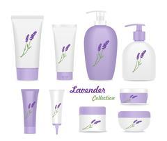 Set of lavender cream tubes Stock Illustration