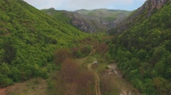 Aerial video over green mountain in springtime - stock footage
