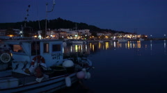Night View Of Fishing Village Skioni in Greece Stock Footage