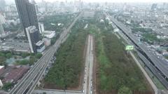 Aerial Makkasan Rail link Bangkok Stock Footage