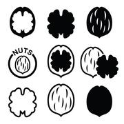 Walnut, nutshell vector icons set Stock Illustration