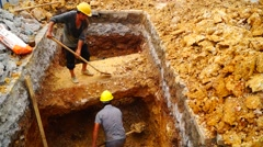 Chinese construction workers are digging tunnels - stock footage