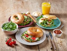 Fresh bagel sandwiches Stock Photos