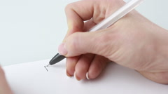 Woman writes on a paper resume. close-up Stock Footage