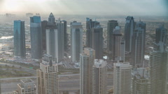 Morning in Dubai Marina with towers and traffic on road from skyscrapper, Dubai Stock Footage