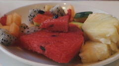 Breakfast at the hotel fruit dessert Stock Footage