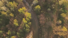 Aerial video over small country river Stock Footage