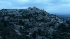 General view of Gordes at dusk, Provence, France Stock Footage