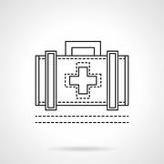 Doctor case flat line vector icon - stock illustration