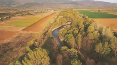 Aerial video over small country river - stock footage