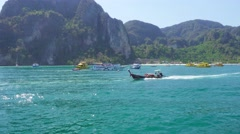 Phi Phi Don island, view from boat, Thailand Stock Footage