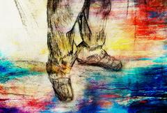 art drawing man legs and color abstract  background - stock illustration