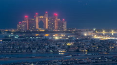 Night to day timelapse view on luxury higlighted hotel on palm Jumeirah in Dubai Stock Footage