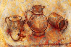 still life drawing. Original hand draw on paper. Teapot, jug, funnel and cans - stock illustration