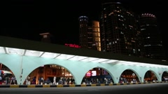 People in bus station in Abu Dhabi, United Arab Emirates Stock Footage