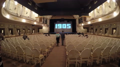 4K. Before the show. Auditorium in the theater. - stock footage