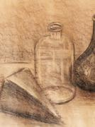 Drawing glass bottle on paper. Original hand draw and Color effect - stock illustration