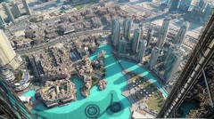 Top view on Burj Khalifa Lake and Address hotel, Dubai, United Arab Emirates Stock Footage