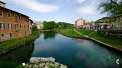 RIETI, ITALY, the ancient Roman bridge flooded by the Velino River Stock Footage