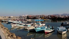 Boats in Dibba Al-Baya harbour, Sultanate of Oman Stock Footage