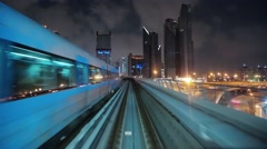 Journey on driverless, fully automated metro rail network, Dubai, UAE Stock Footage
