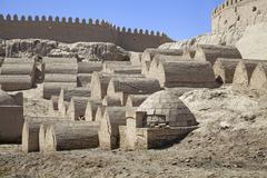 Medieval cemetery in Khiva Stock Photos