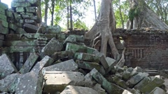 Ta Prohm temple in Angkor Wat, Siem Reap, Cambodia Stock Footage