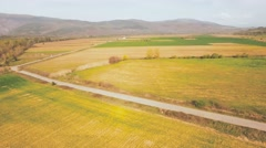 Aerial video over cultivated land in Bulgaria - stock footage