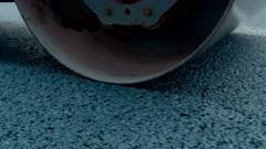 Asphalt paver applying asphalt on the repaired city road Stock Footage
