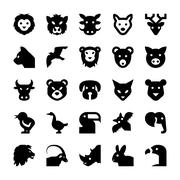 Animals and Birds Vector Icons Stock Illustration