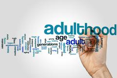 Adulthood word cloud Stock Photos
