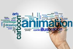 Animation word cloud - stock photo