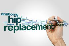 Hip replacement word cloud - stock photo