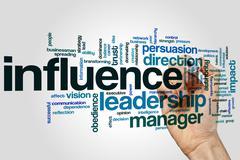 Influence word cloud Stock Photos