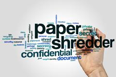 Paper shredder word cloud - stock photo