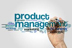 Product management word cloud concept Stock Photos