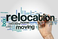 Relocation word cloud - stock photo