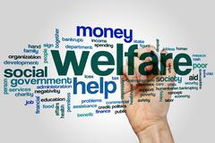 Welfare word cloud Stock Photos