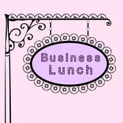 business lunch retro vintage street sign - stock illustration