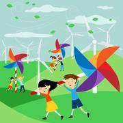 Save the Earth - Green energy for children - Illustration with electric windm Stock Illustration