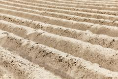 plowed land. close-up - stock photo